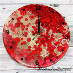 Tick Tock - Lace and Buttons  - Red - Resin clock - silent motion