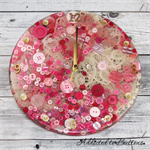 Tick Tock - Lace and Buttons  - Pink - Resin clock - silent motion