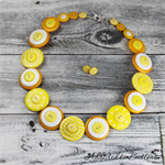 Sunshine Yellow and White Stripes Spots - Button Necklace - Earrings - Jewellery