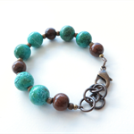 Alia green agate and wood bright colour beaded bracelet