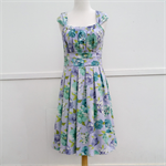 Ladies Dress Retro 50s pastel blue green floral pleated skirt vintage rockabilly
