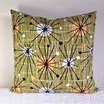 Cushion cover atomic 1950s reproduction design in olive
