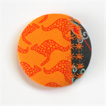 Fun-tastic Fabric Patchwork Button Brooch - Kangaroos on Orange with grevillea.