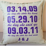 Personalised 'special date' pillow for the perfect wedding/engagement gift.