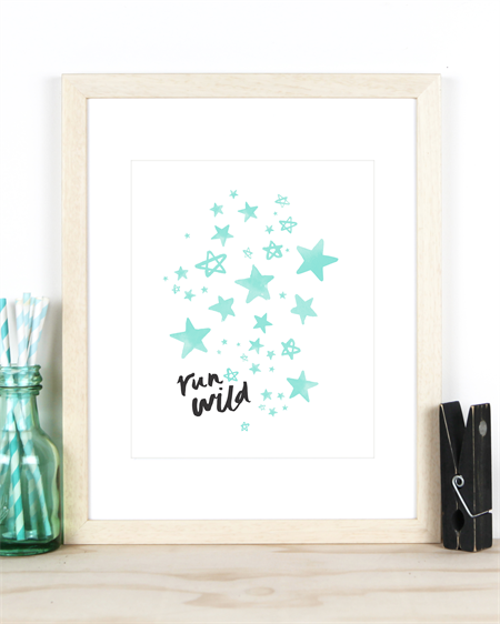 """Run Wild"" Art Print in A4 - Mint Nursery Decor"