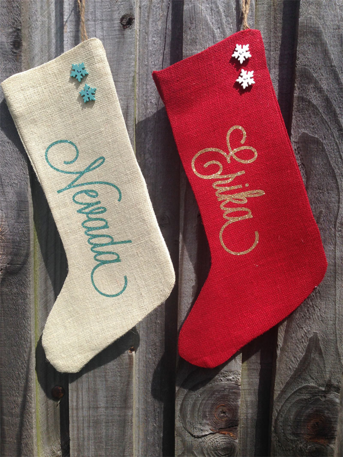 ae4d7a3945eb Personalised GLITTER NAME Hessian Christmas Stockings - 100% Hand-made!