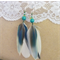 Teal Parrot Feather Earrings