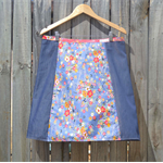 Blue japanese & chenille A line skirt