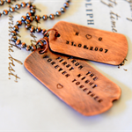 Copper Rustic Dog Tags Mens Hand Stamped Personalised Necklace Christmas Gift