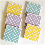 Cross Coasters - 6 Ceramic Tile Drink Coasters Mint Yellow Grey Crosses