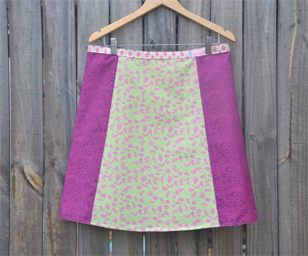 Green, pink leaves & purple A line skirt