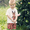 Retro Christmas Shorts  and Reindeer Applique Tee Set