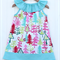 Ruffle Neck Christmas Dress Aqua Pink Red Trees Sizes 000-2