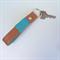 Carey Leather Tasselled Two Tone Key Fob: Tan & Blue