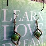 Green Howlite Stone in Twist earrings
