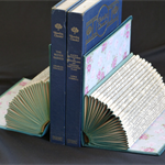 Pair of BOOK ENDS upcycled real vintage books  hand folded