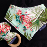 Bandana Bib and Teether - South Pacific floral