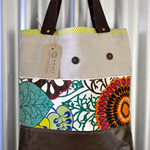 Large, Earthy, Tropical, Eco Friendly, Leather, Linen Upcycled Shoulder Tote Bag