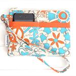 Hippie Pattern in Blue, Orange & White Wristlet Pouch Purse