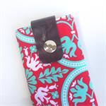 Mobile Phone Pouch: Red & Jade Damask Pattern