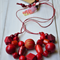 Bright red statement necklace, red bib necklace, geometric red tribal wood
