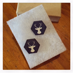 Laser Cut Wooden Stag Earrings