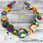 Spotty Caterpillar Necklace - Strawberry Lollipop Button Jewellery - Earrings