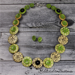 Black Green Spectacles - Glasses Spots - Buttons Necklace - Jewellery