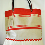 Medium Earthy, Repurposed Red Linen, Eco Friendly & Linen Shoulder Tote Bag