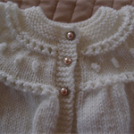 Size 1 years hand knitted cardigan in cream: Unisex, washable, acrylic, gift