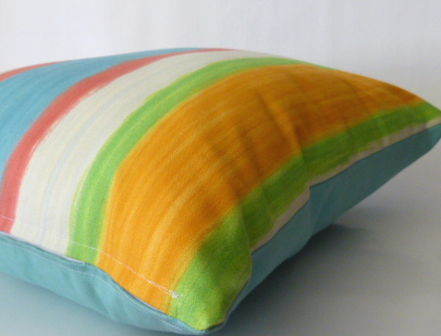 Summer Stripe Cushion - Pink/Blue/Orange - Free Postage