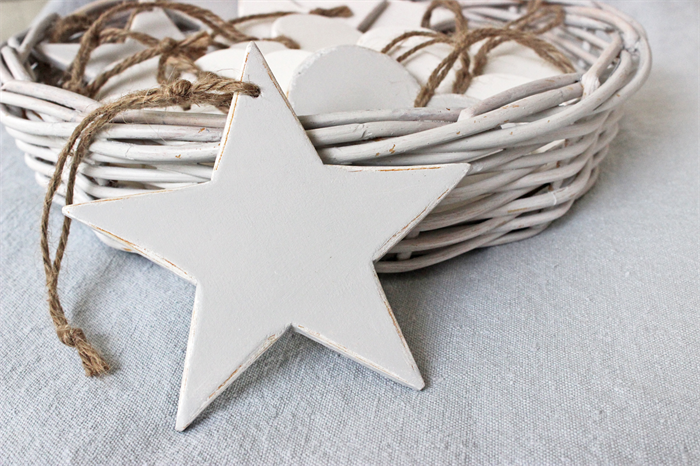 Wooden Star Christmas Decoration White, Grey Or Misty Blue