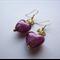 Amethyst lampwork glass heart earrings