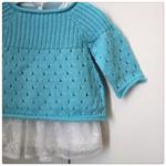 Boho SmockTop - 6 months -Aqua - Hand knitted