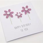 Handmade Birthday Card - Happy Birthday to you - Purple