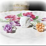 Lucette Children's Ring Set Flower Trio White Lilac Purple Pastel Peach Owl