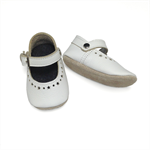 White leather Mary Jane baby shoes.  Soft soled shoes.  Baby girl shoes.