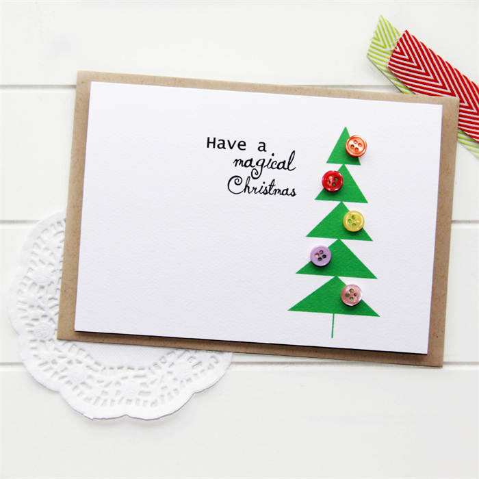 4 Christmas cards geometric Christmas tree buttons one of a kind ...