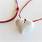 Cream Heart and Red Cord Necklace