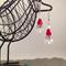 Crystal Pearl Rhinestone Santa Head Christmas Xmas Earrings