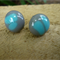 Burst of Colour Grey and Turquoise Fused Glass Stud Earrings