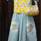 Yellow apple print dress & handbag, kid's dress, girl's dress, summer dress