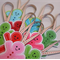 Christmas decorations - gingerbread folks - set of 3 - pink green blue red