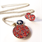 Red and Navy Floral Resin Necklace