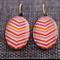 V Stripe ~Oval Lever Back Earrings