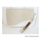 Leather clutch in light beige and off-white