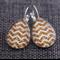 Bronze Glitter Chevron ~ Teardrop Lever Back Earrings
