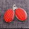 Red & White Spots~Oval Lever Back Earrings