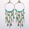 Green cascade hoop earrings