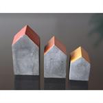 Set of 3 mini concrete houses
